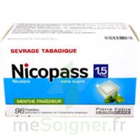 NICOPASS 1,5 mg SANS SUCRE MENTHE FRAICHEUR, pastille édulcorée à l'aspartam et à l'acésulfame potassique à Hourtin