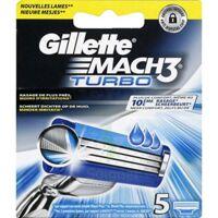 Lames de rasoir mach3 turbo, GILLETTE, recharge, 5 unités à Hourtin